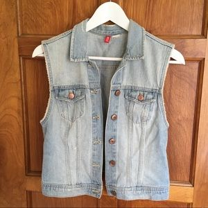 Light wash denim vest / jean jacket vest